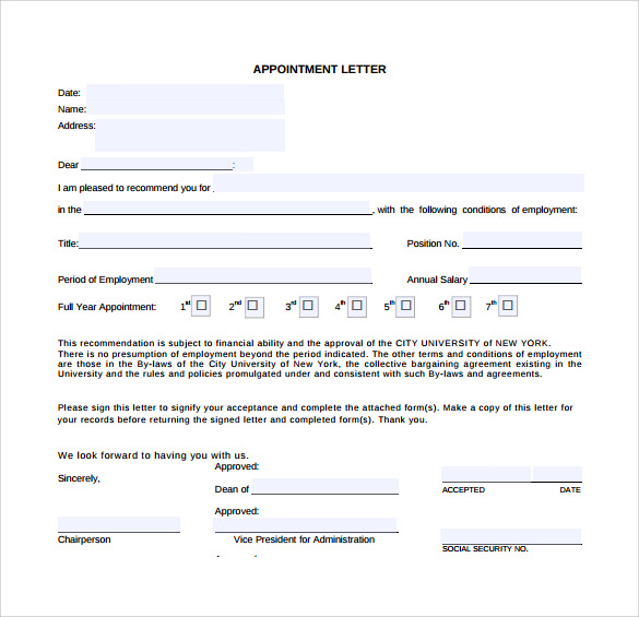 29 sample appointment letters to download sample templates sample appointment letter in pdf altavistaventures Choice Image