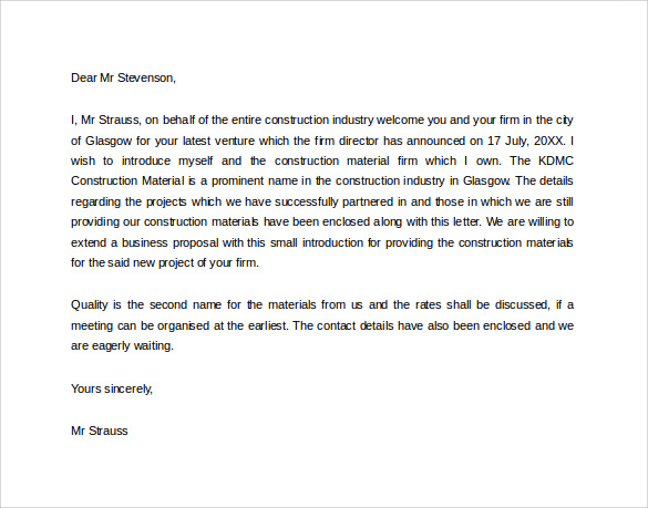 contractor letter of introduction