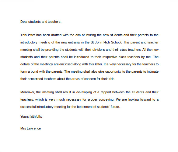 school teacher introduction letter
