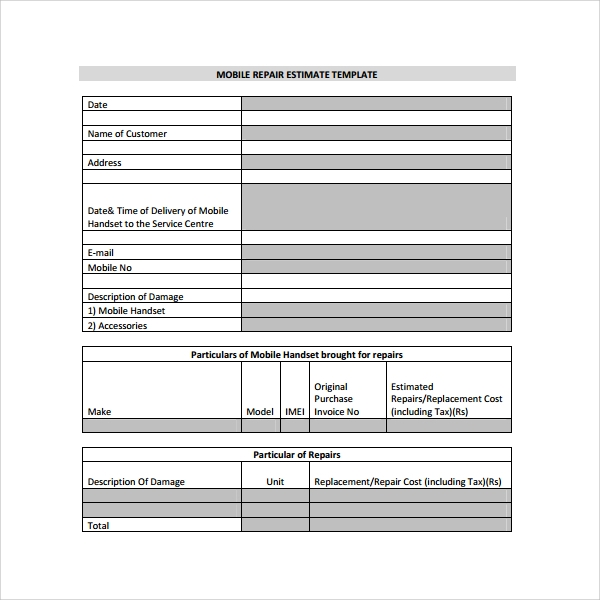 Estimate Template   Documents In Pdf
