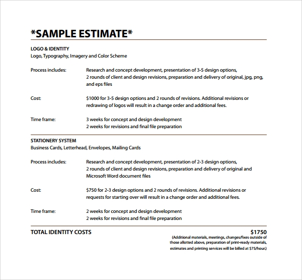 9+ Sample Estimate Templates