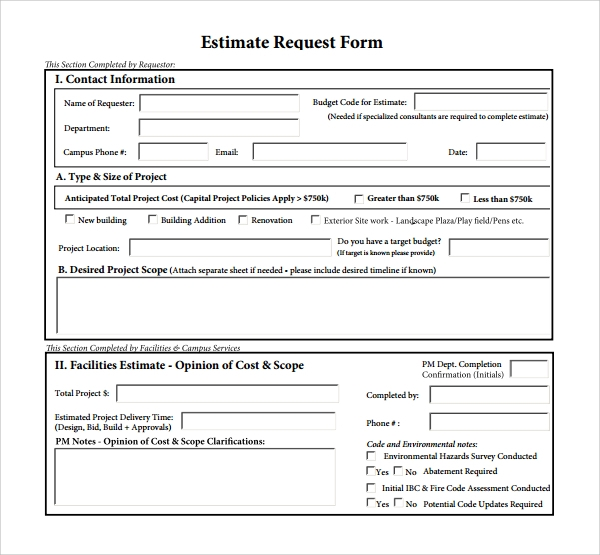 estimate request form pdf