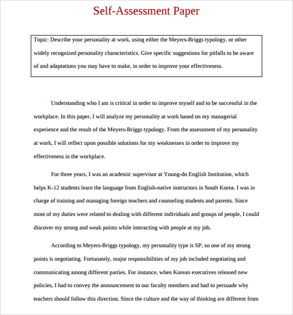 16 sample employee self evaluation form pdf word for Student self evaluation templates