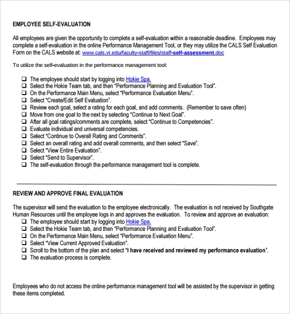 Sample Employee Self Evaluation Form - 14+ Free Documents In Word, Pdf