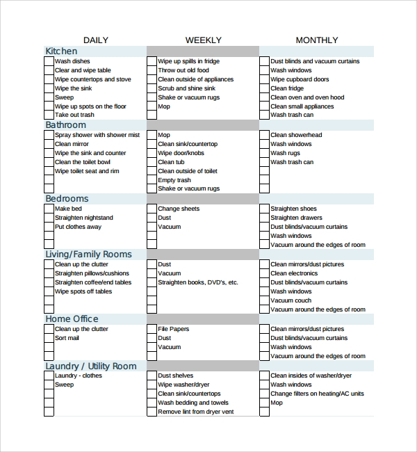 maid checklist template 7 house cleaning checklist templates pdf doc sample