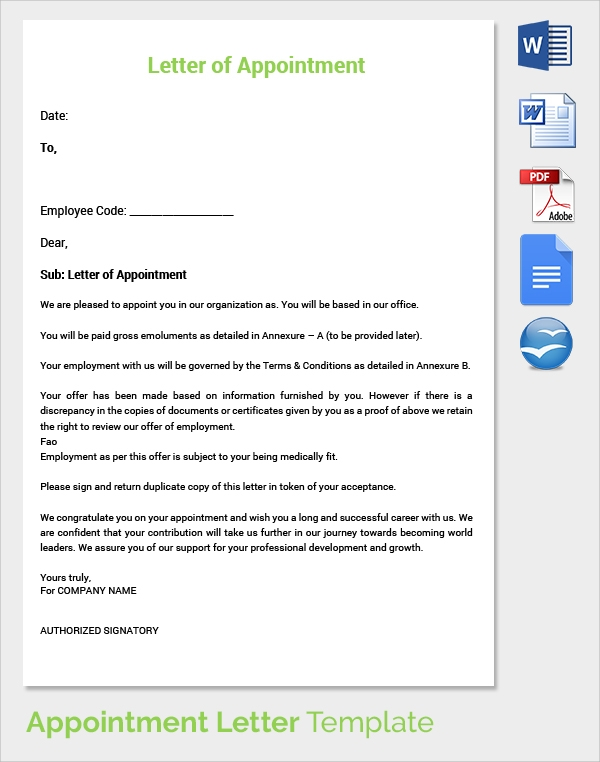 Sample appointment letter 28 download free documents in pdf word letter of appointment template spiritdancerdesigns Gallery