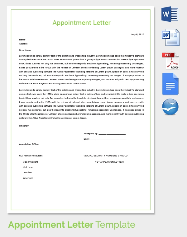 29 Sample Appointment Letters To Download Sample Templates