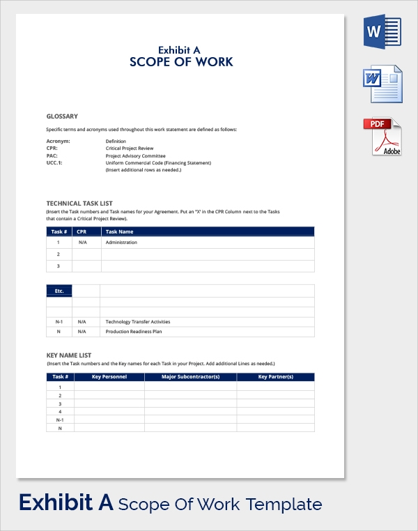 23 sample scope of work templates to download sample for Scope of works template free