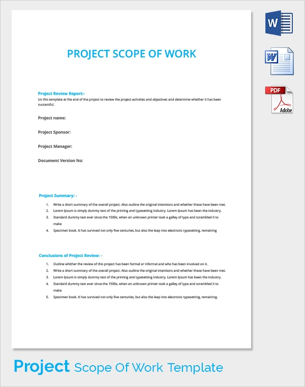 it project scope of work template - 23 sample scope of work templates to download sample
