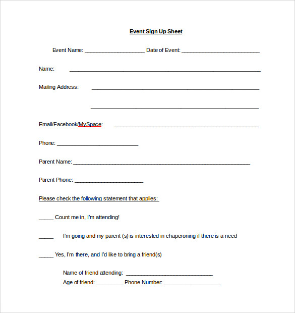 Sign Up Sheet Template U2013 13+ Download Free Documents In Word, PDF U2026