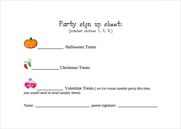 party sign up sheet pdf template free download
