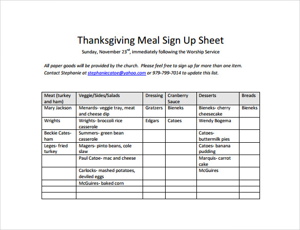 Thanksgiving Meal Sign Up Sheet Free PDF Template Download