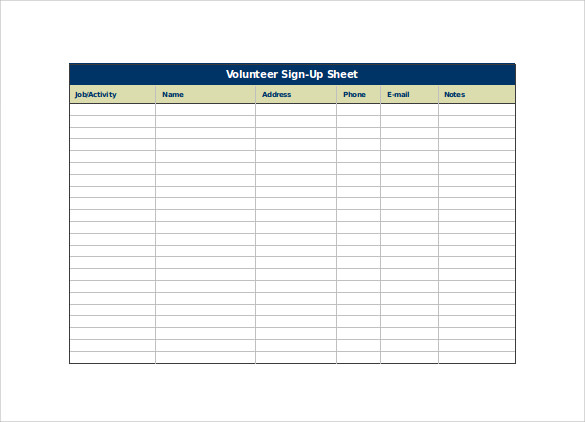 Volunteer Sign Up Sheet Excel Template Free Download