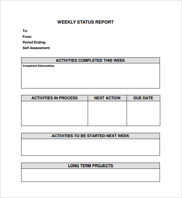 Weekly Status Report Template   Download Free Documents In Word
