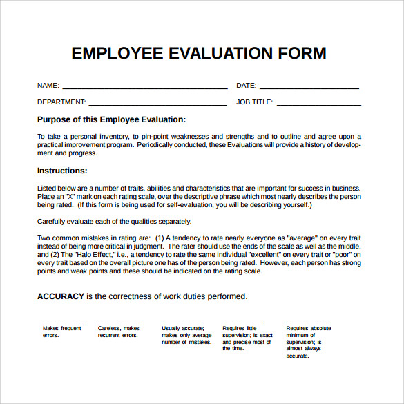 Employee Evaluation Form - 21+ Download Free Documents in PDF