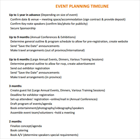 free 8  event timeline templates in pdf