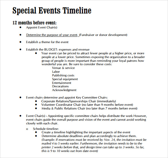 Event Timeline Templates For Free Download Sample Templates - Fundraising timeline template