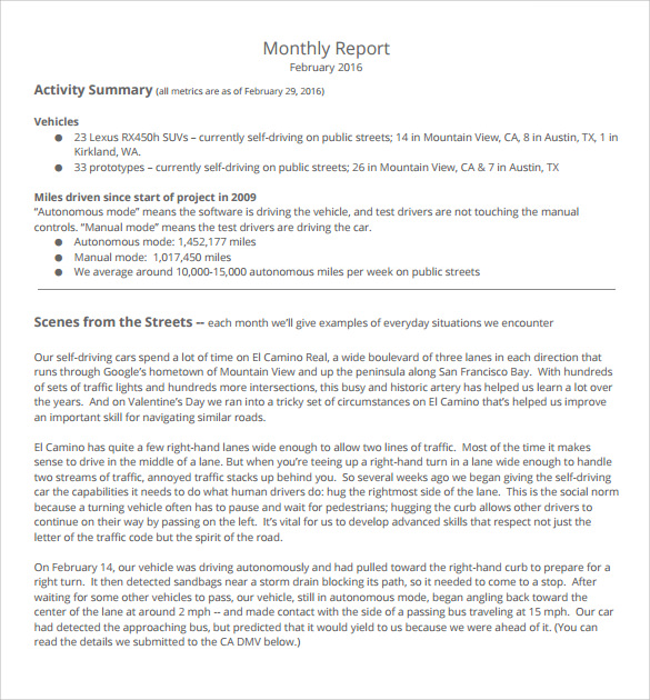 Monthly Report - 10+ Download Documents In Pdf