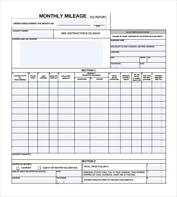 monthly mileage report template