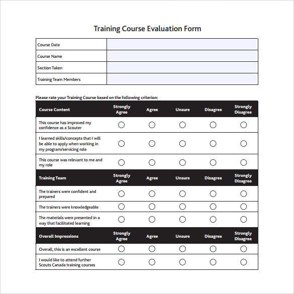 16 Sample Training Evaluation Form Templates