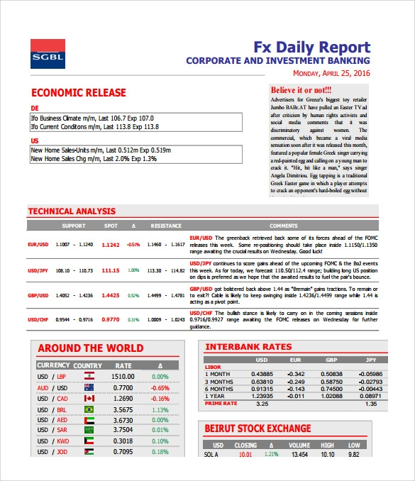daily investment report