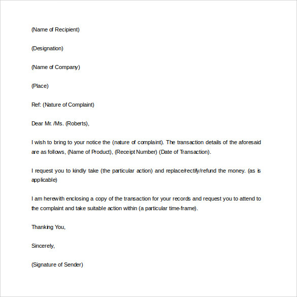 17 sample complaint letters to download sample templates complaint letter template in word spiritdancerdesigns Choice Image