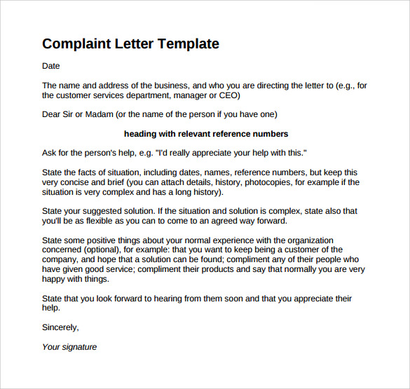 Complaint Letter 16 Download Free Documents in Word PDF – Claim Template Letter