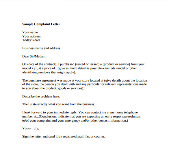Sample of complaints letter boatremyeaton sample of complaints letter thecheapjerseys Choice Image