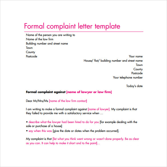 17 sample complaint letters to download sample templates for Formal letter of complaint to employer template