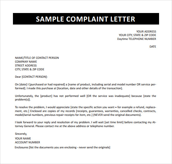 sample complaint letter free download