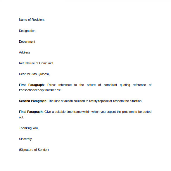 Complaint Letter   Download Free Documents In Word Pdf