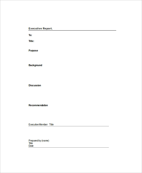Sample Executive Report Template  Executive Report Template Word
