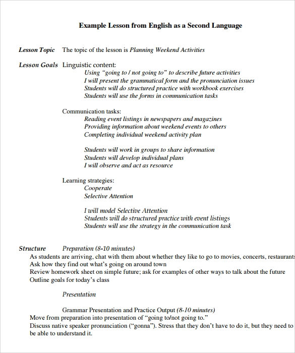 Lesson Plan Example Selected Entries From The Trinity English