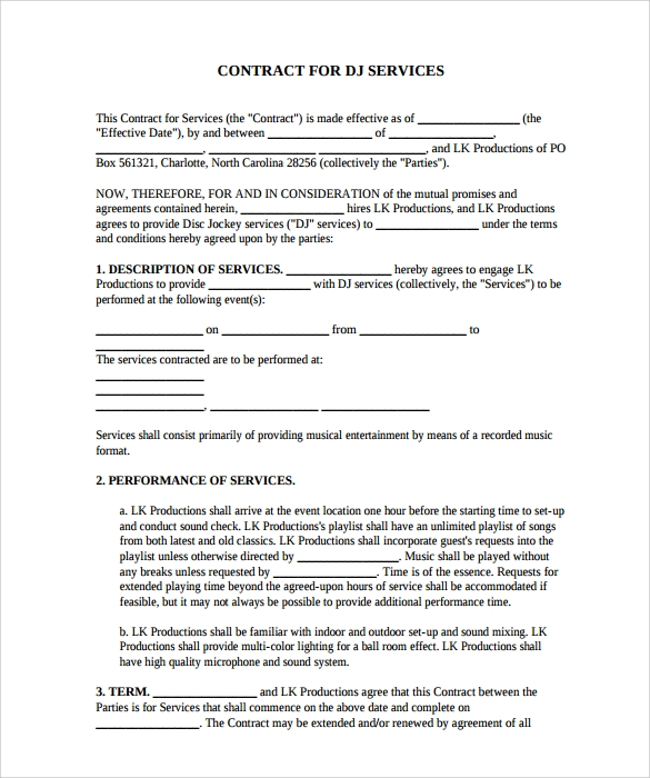 DJ Contract 12 Download Documents in PDF – Performance Contract Template