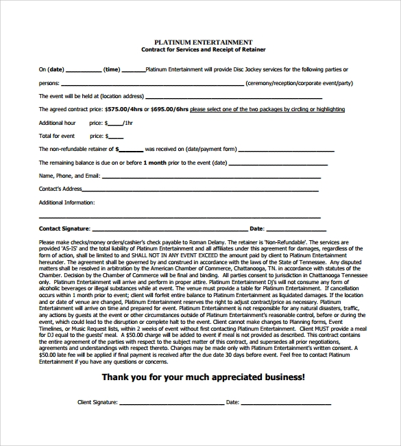 DJ Contract 12 Download Documents in PDF – Blank Contracts