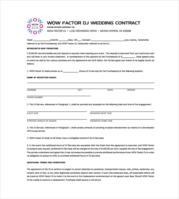 Wedding Dj Contract Template