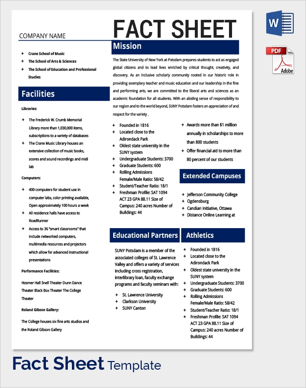 Sample Fact Sheet Template 13 Free Download Documents In PDF WORD – Sample Fact Sheet