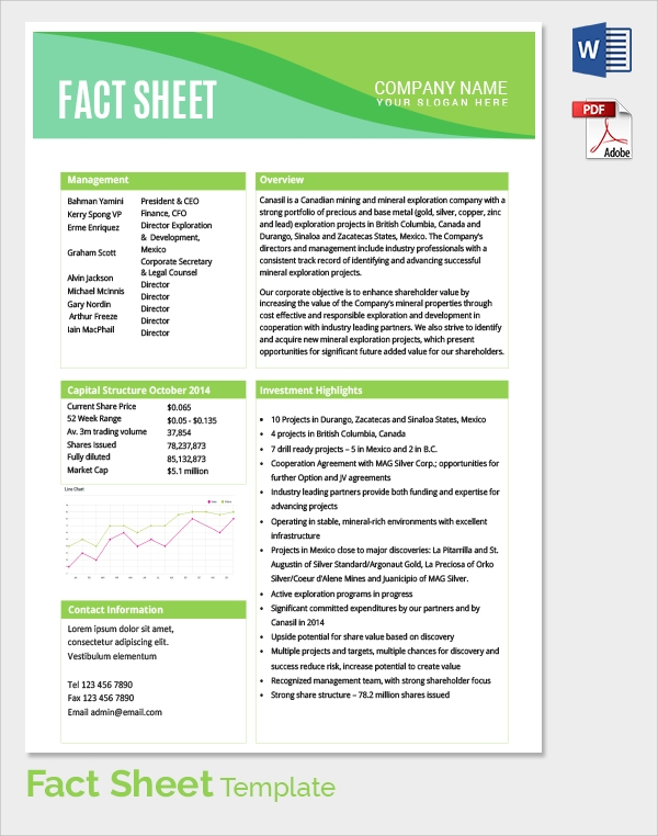 Sample Fact Sheet Template 14 Free Download Documents