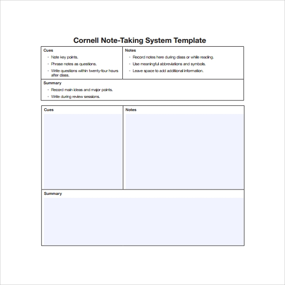 Cornell Note Taking System Template Free Download  Microsoft Word Note Taking Template