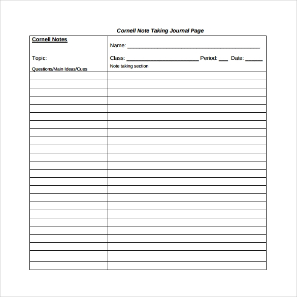 Cornell Note Template | Out-Of-Darkness