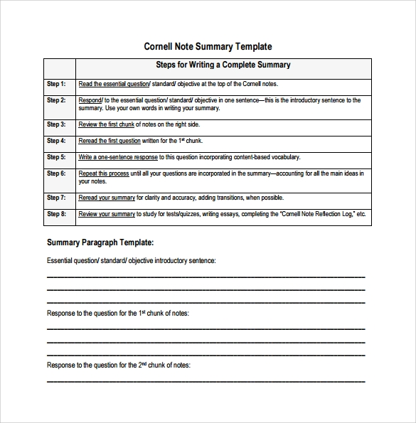 Cornell Note template - 15+ Download Free Documents in PDF, Word