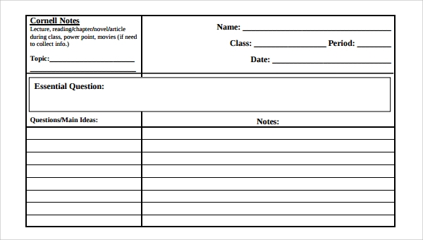 Best Of Cornell Notes Template Word: 16 Sample Editable Cornell Note Templates To Download