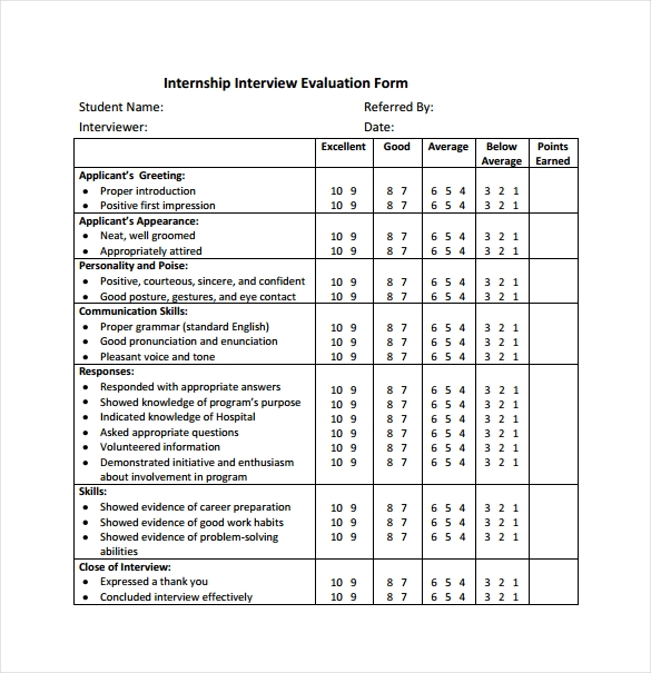 Interview Evaluation Form 12 Download Free Documents In