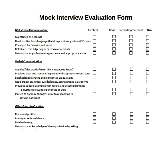 Interview Evaluation Interview Evaluation Form Interview