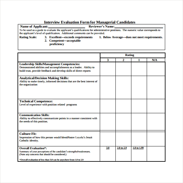 interview evaluation form for managerial candidates