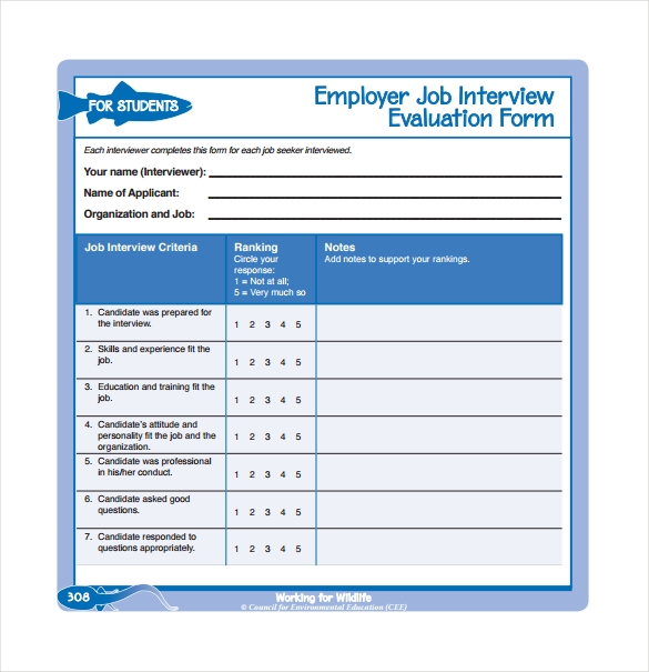 Interview Evaluation Form   Download Free Documents In Pdf Word
