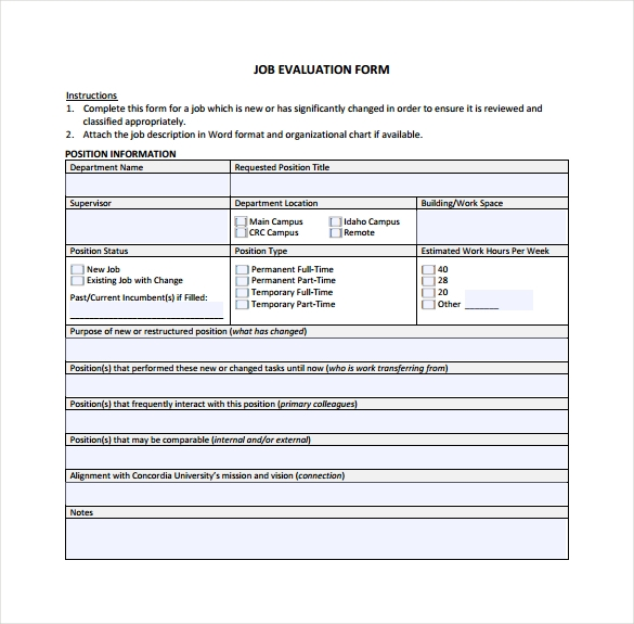Sample Job Evaluation   Documents In Word Pdf