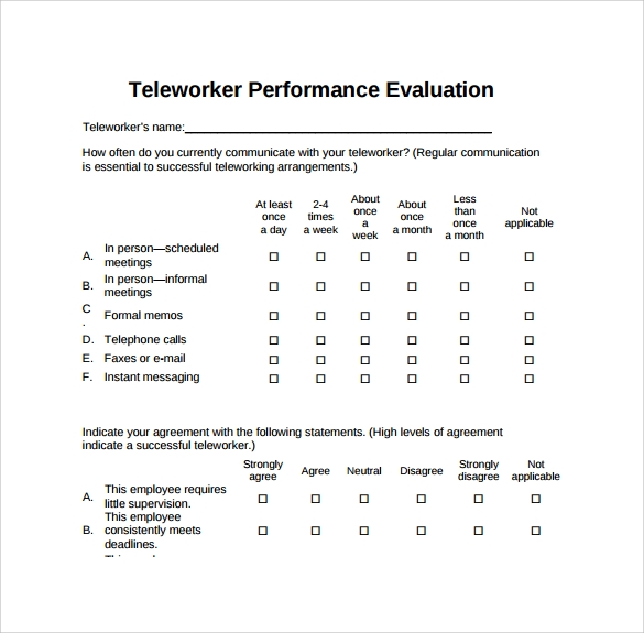 teleworker performance evaluation