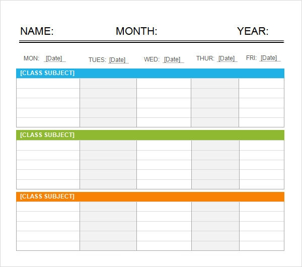 5 day calendar template word