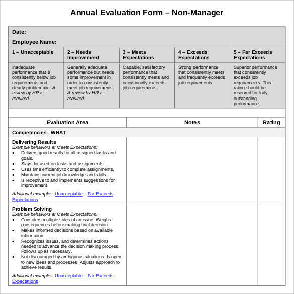 41 sample employee evaluation forms to download sample for Yearly employee review template